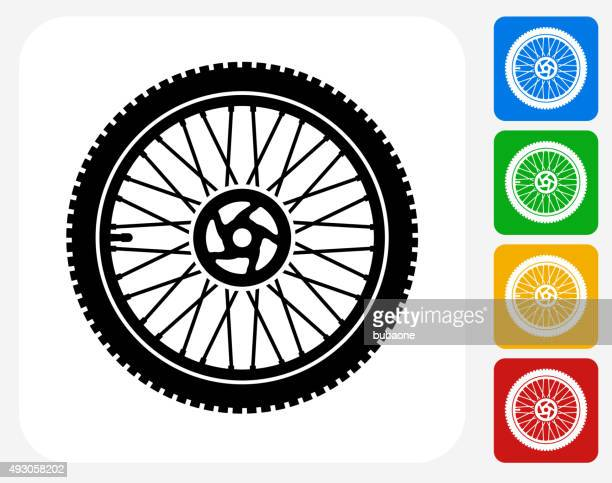 bike wheel icon flat graphic design - wheel stock illustrations, clip art, cartoons, & icons