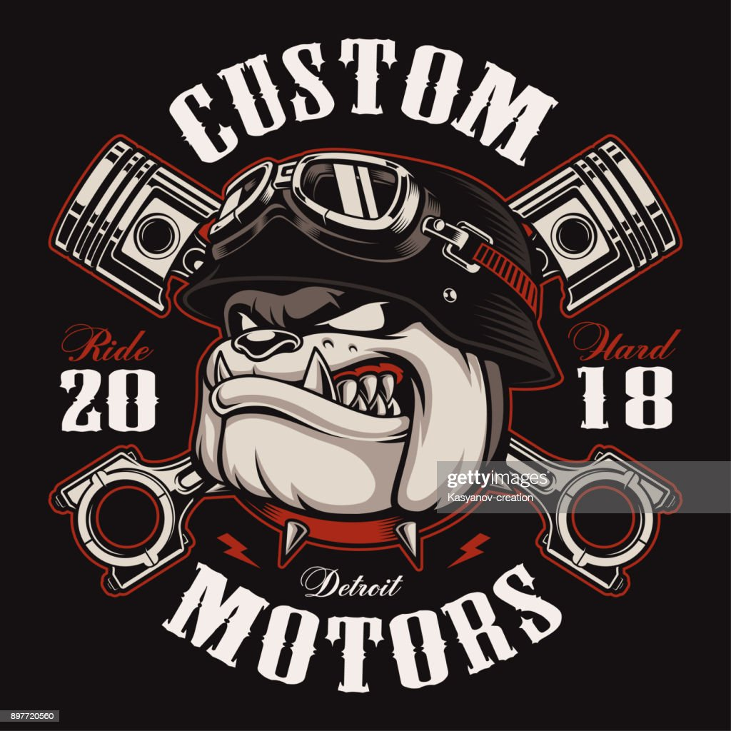 Biker Bulldog biker t-shirt design (color version)