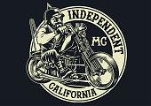 biker gang member riding motorcycle