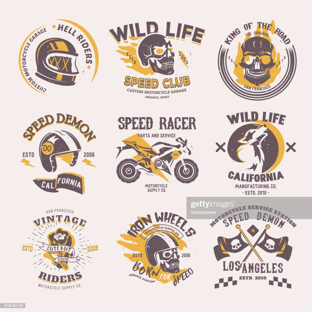 Biker icon vector rider on motorcycle or bike and speed motorcyclist racer on icontype motor emblem illustration racing set isolated on white background