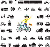biker man and icon for transport