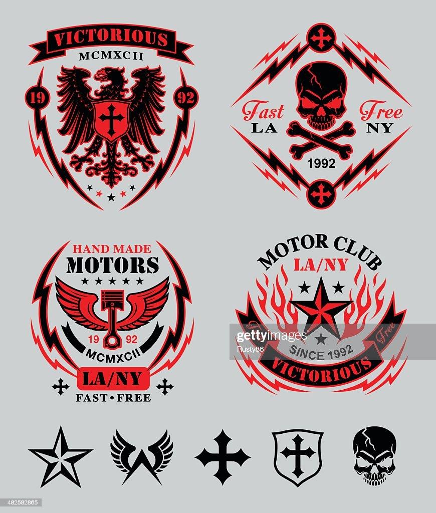 Biker patches emblem set