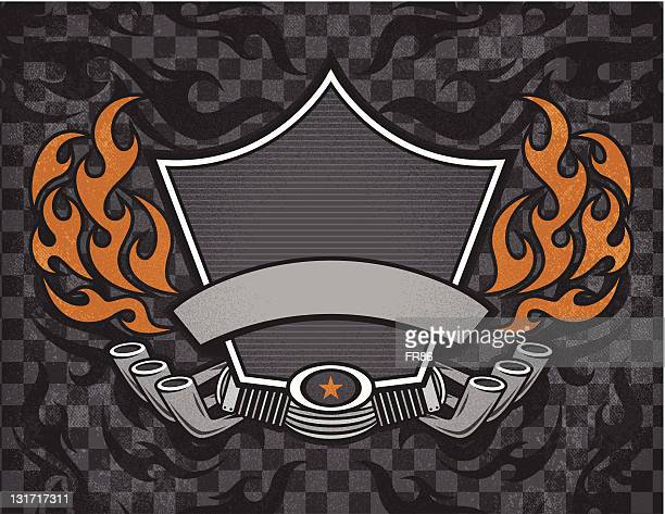 biker shield grunge - motorcycle rider stock illustrations, clip art, cartoons, & icons