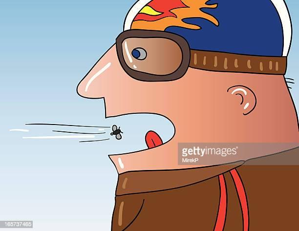 illustrations, cliparts, dessins animés et icônes de motard swallowing fly - ski humour