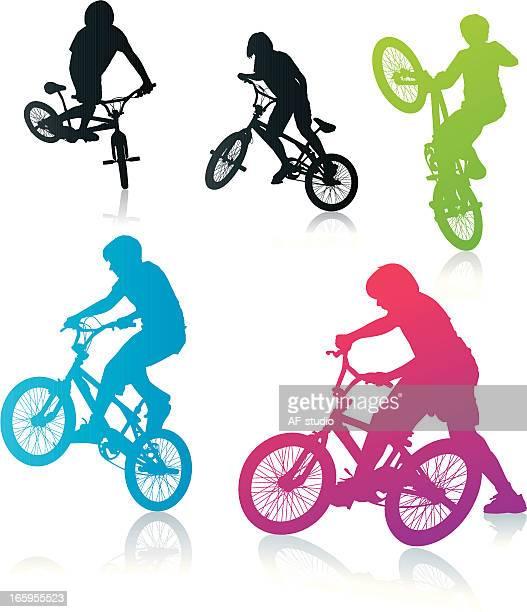 bmx biker - bmx cycling stock illustrations