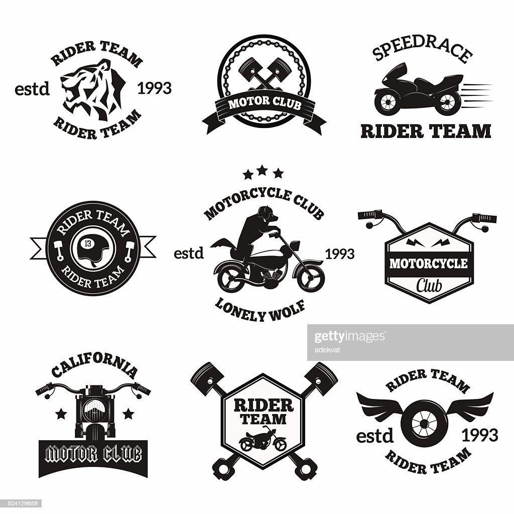 Bikers badges emblems vector icons