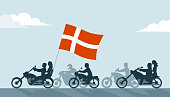 Bikers on motorcycles with denmark flag