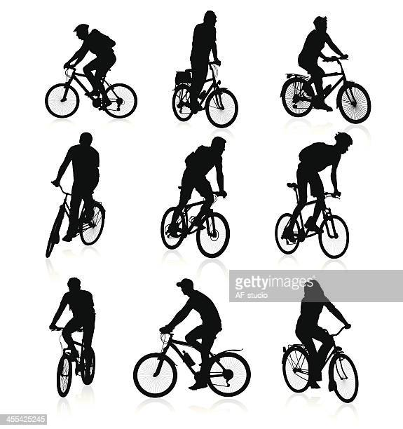 bikers - bicycle stock illustrations