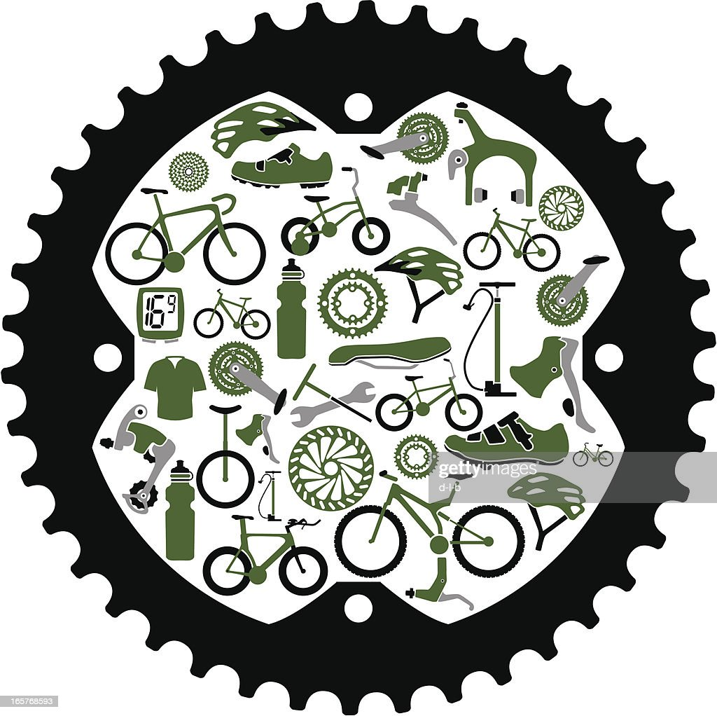 Bikes And Bike Parts Inside A Gear Vector Art Getty Images