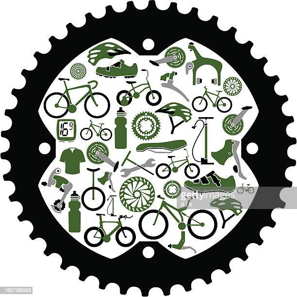 bikes and bike parts inside a gear - derailleur gear stock illustrations, clip art, cartoons, & icons