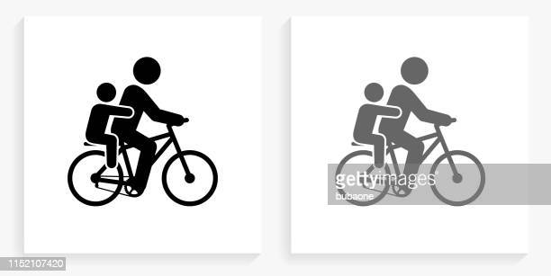 Biking Family Black and White Square Icon