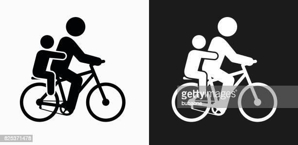 biking family icon on black and white vector backgrounds - family cycling stock illustrations, clip art, cartoons, & icons