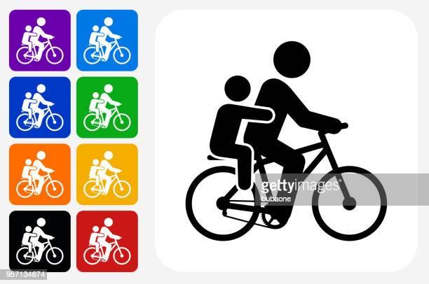 Biking Family Icon Square Button Set