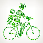 Biking Family Nature and Environmental Conservation Icon Pattern