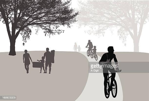 Biking In The Park Vector Silhouette