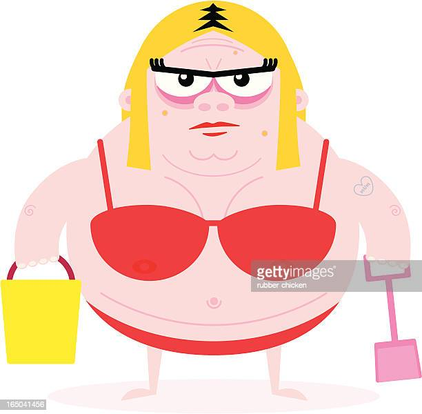 bikini babe - ugliness stock illustrations, clip art, cartoons, & icons