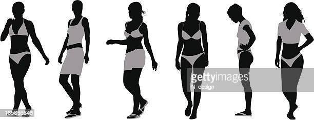 bikini beauties - swimwear stock illustrations, clip art, cartoons, & icons