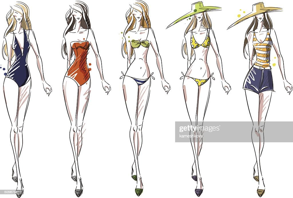 bikini catwalk, fashion illustration