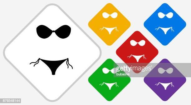 bikini color diamond vector icon - tourist resort stock illustrations, clip art, cartoons, & icons