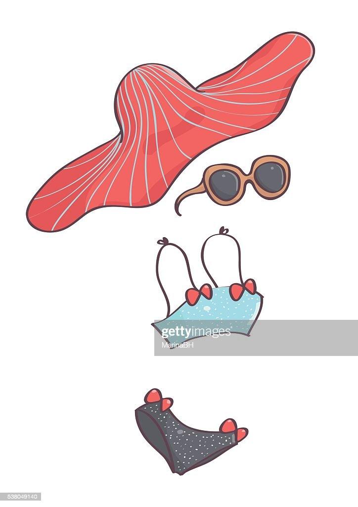 Bikini with bows, big red hat and sunglasses