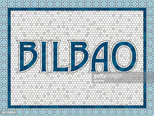 bilbao old fashioned mosaic tile typography - en búsqueda stock illustrations