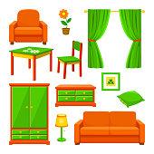 Bild på olika möbler man hittar i ett vanligt hem