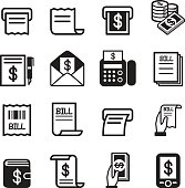 Bill , money , income icons set
