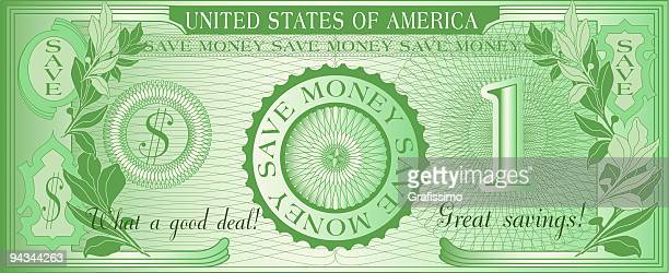 bill of american save money dollar - american one dollar bill stock illustrations, clip art, cartoons, & icons