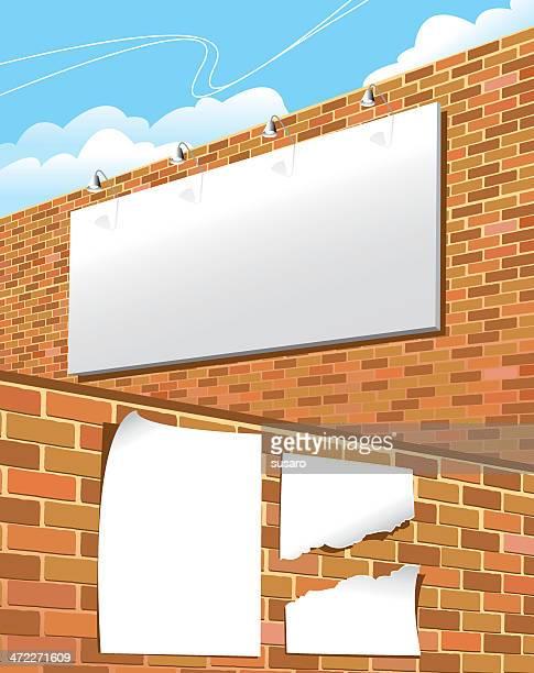 ビルボード/看板でのポスター - 付着点のイラスト素材/クリップアート素材/マンガ素材/アイコン素材