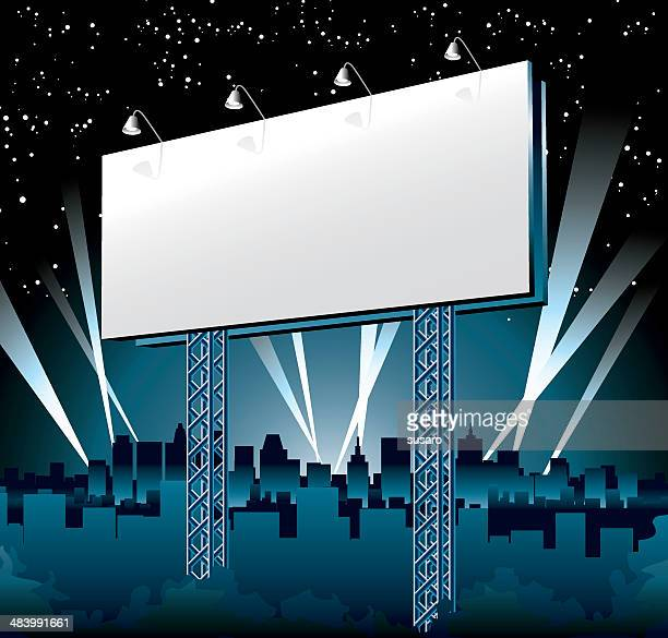 illustrations, cliparts, dessins animés et icônes de panneau d'affichage dans la nuit - scène urbaine