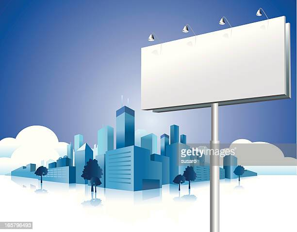 billboard city - commercial sign stock illustrations