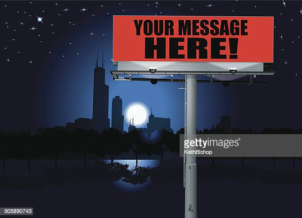 billboard - commercial sign background - chicago loop stock illustrations, clip art, cartoons, & icons