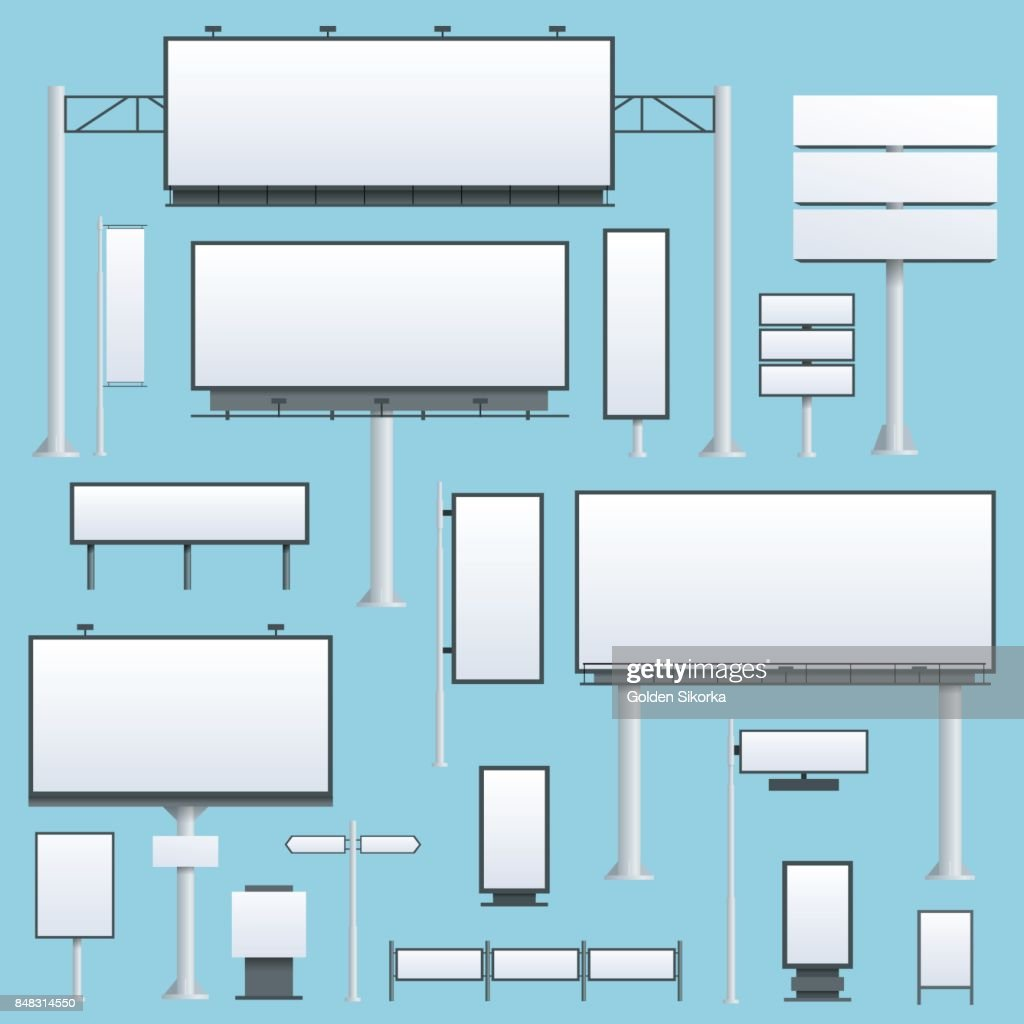 Billboard flat Set of different perspectives advertising construction for outdoor advertising big billboard on blue background isolated vector illustration