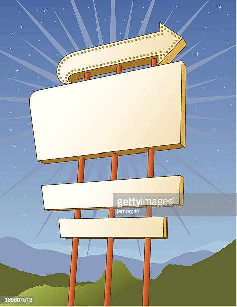 billboard vintage outdoor sign - store sign stock illustrations