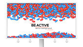 Billboard with abstract background filled with falling from above icons of social media network activity. Be active, motivational poster. Notification of likes, comments, followers.