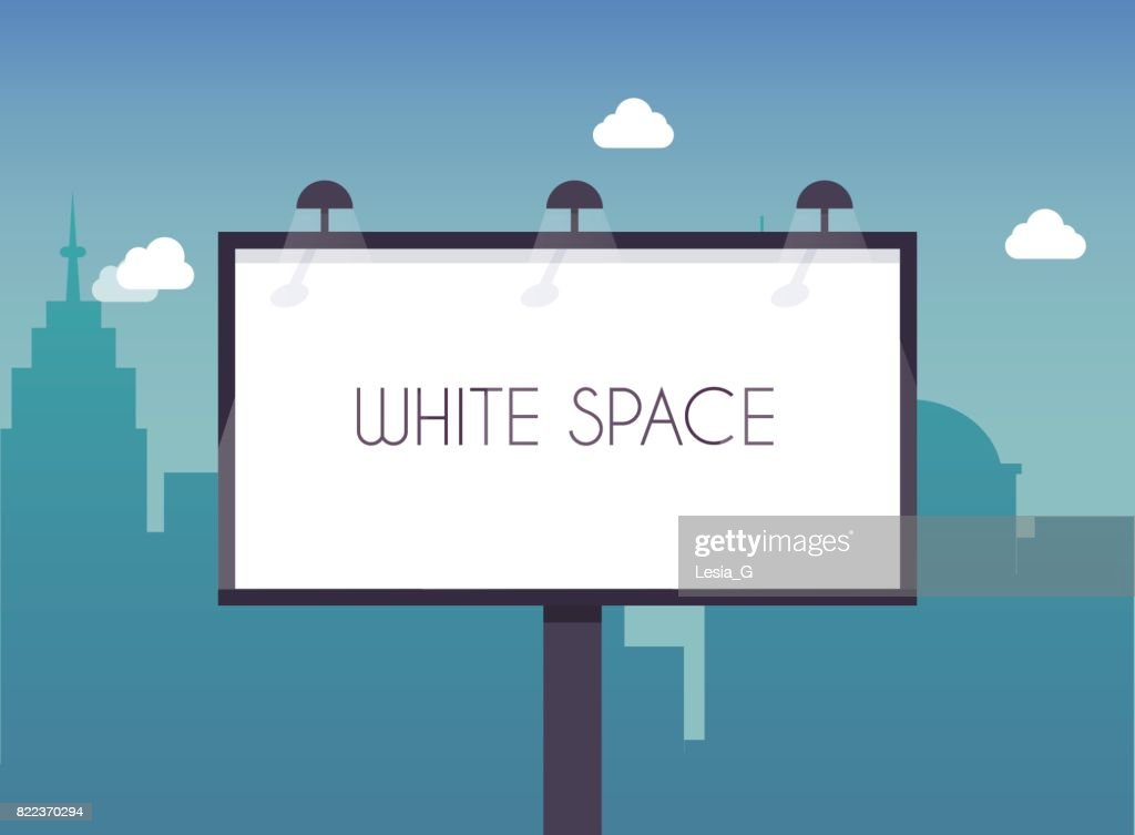Billboard with copy space text standing high over large city street skyscrapers buildings. Flat design modern vector illustration concept.