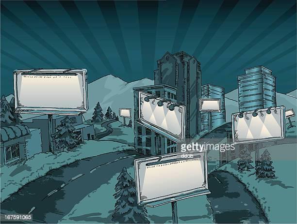 Billboards at night