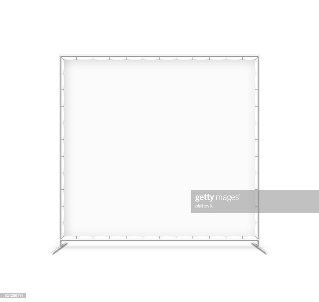 Billet press wall with blank banner