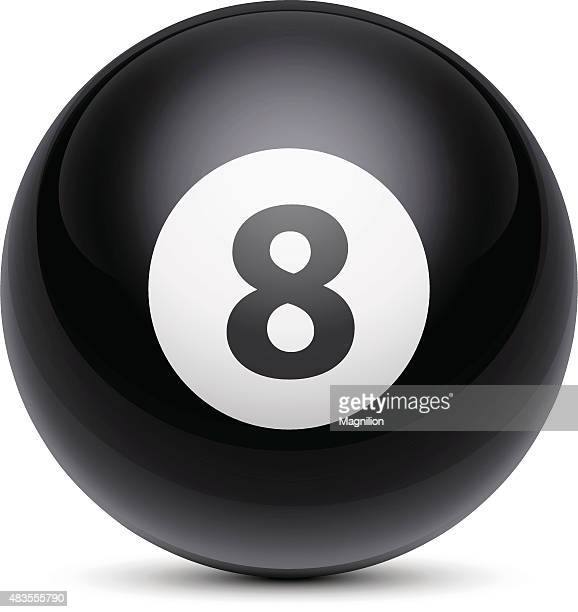 billiard ball number eight - pool ball stock illustrations, clip art, cartoons, & icons