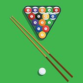 Billiard balls and cue on green background