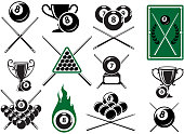 Billiard, pool and snooker sports emblems