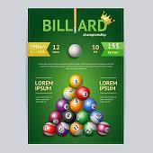 Billiard Tournament Poster Card Template. Vector