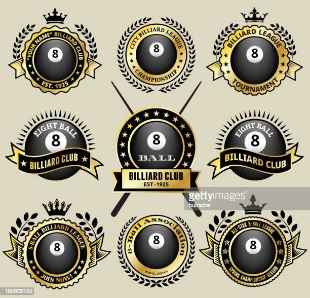 billiards 8-ball on black and white badges vector icon set - pool ball stock illustrations
