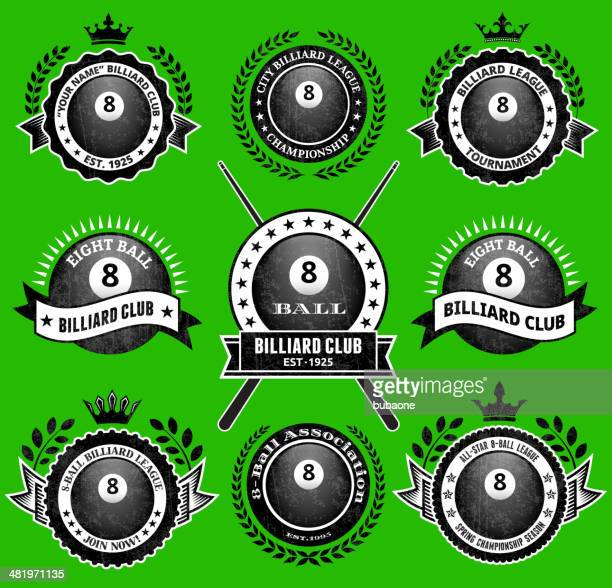 billiards 8-ball on green badges royalty free vector icon set - pool ball stock illustrations, clip art, cartoons, & icons