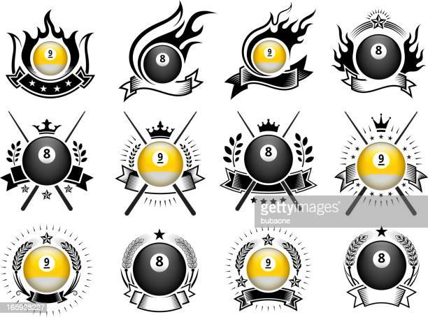 billiards ball badges black and white royalty-free vector icon set - pool ball stock illustrations