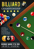 Billiards game table with cue and balls