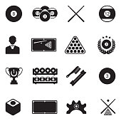 Billiards Icons. Black Flat Design. Vector Illustration.