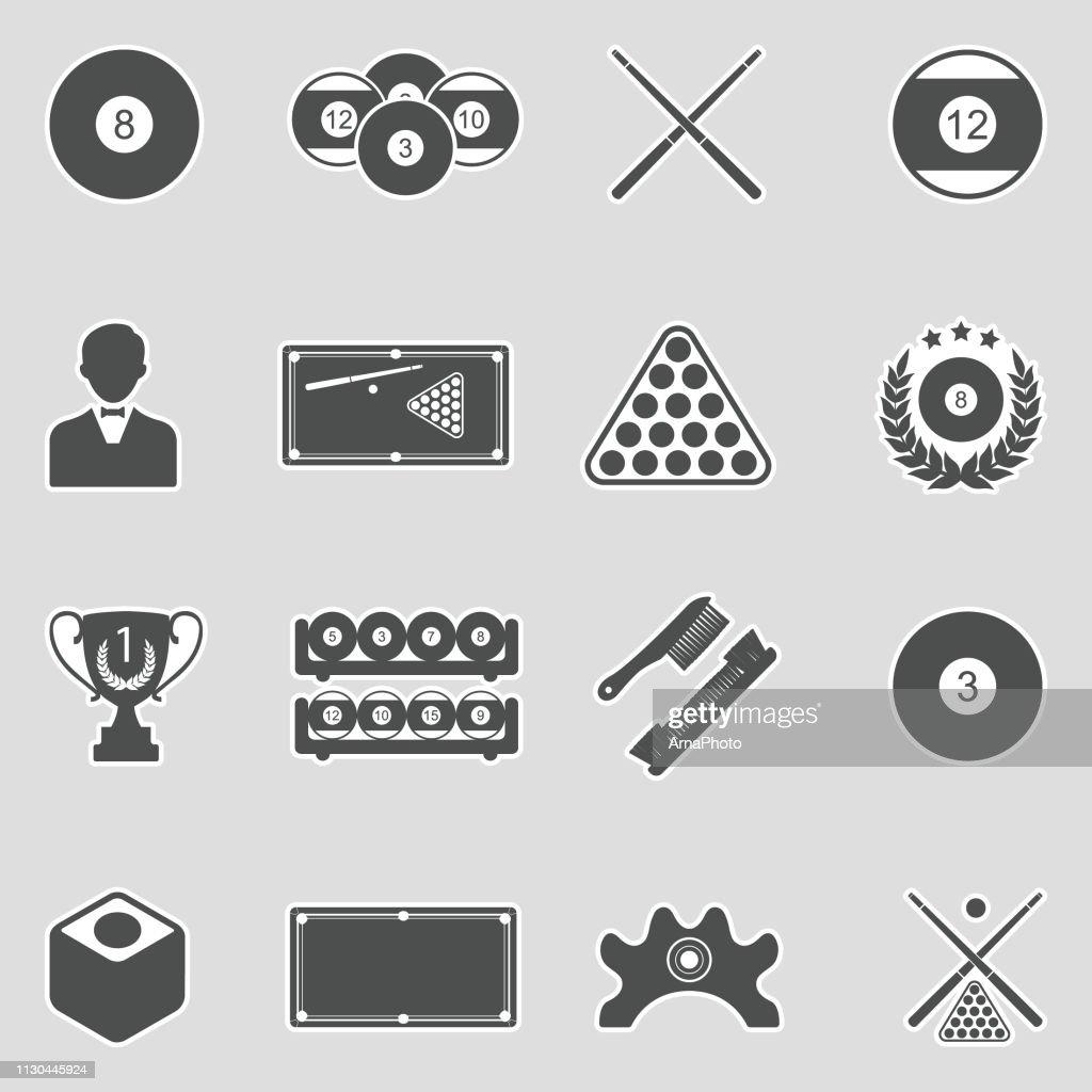Billiards Icons. Sticker Design. Vector Illustration.