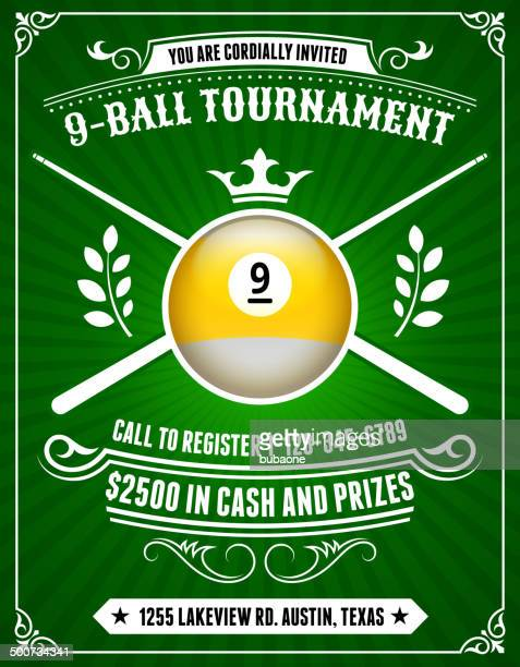 billiards tournament invitation on green background - pool ball stock illustrations, clip art, cartoons, & icons
