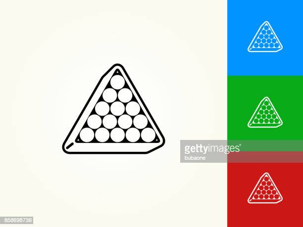 billiards triangle setup black stroke linear icon - pool ball stock illustrations, clip art, cartoons, & icons